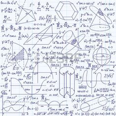 """Matem�tica vector sin patr�n con figuras geom�tricas, parcelas y ecuaciones """", escrita a mano en el papel de cuaderno de cuadr�cula"""". Textura matem�ticas Endless photo"""