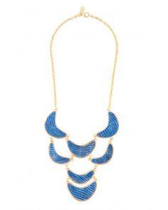 Kara Ross: Crescent Bib Necklace, Gold with Metallic Blue Lizard