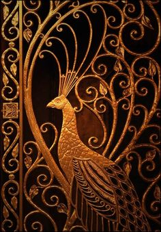 Art Nouveau peacock done as detail in an iron door Les Doors, Windows And Doors, Art Nouveau, Modernisme, Iron Gates, Metal Gates, Iron Work, Door Knockers, Garden Gates