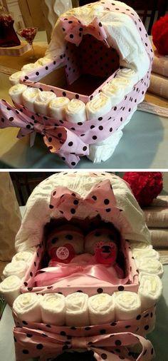 DIY Diaper Bassinet | Click Pic for 35 DIY Baby Shower Ideas for Girls | DIY Baby Shower Gift Ideas for Girls