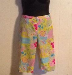 LILLY PULITZER WOMAN CAPRI PANTS size 10 Spring beach art pink yellow  Designer