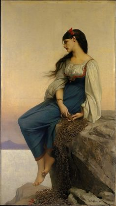 """Graziella"" by Jules-Joseph Lefebvre (1878) at the Metropolitan Museum of Art, New York - From the curators' comments: ""Catharine Lorillard Wolfe commissioned Graziella in 1878. It depicts the heroine of Alphonse de Lamartine's popular tale of the same name, which was first published in 1849. The story revolves around the narrator's love for the beautiful daughter of a Neapolitan fisherman."""