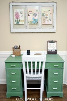 An old brown desk is given a fresh modern makeover with Tavern Green OFMP and white wax / Clockworkinteriors.com