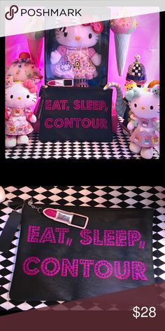 EAT,SLEEP,CONTOUR!!!💄💋 🦄 Fun hot pink bling on black cosmetics bag with zippered top and dangling lipstick 💄 charm! Lotsa room for makeup collectors ✨ Bags Cosmetic Bags & Cases
