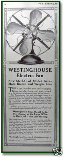 An original 1912 vintage print ad for Westinghouse electric fans - new steel clad models.