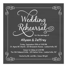 Elegant Wedding Rehearsal Cards Chalkboard Wedding Rehearsal Dinner Invitations