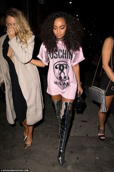 Little Minx: Leigh-Anne Pinnock, 25, turned heads in a short pink Moschino dress as she strutted forth in sexy metallic thigh-high boots while celebrating a pal's birthday at Steam & Rye in London