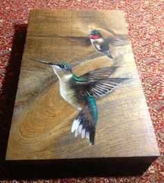 "Hummingbirds - Oil on Reclaimed Wood Painting 6"" x 9"" on Etsy, $73.24"