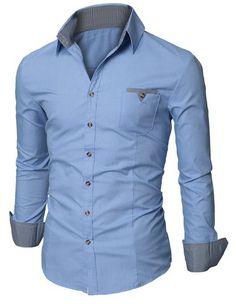 #Doublju Mens #Dress #Shirt with Contrast Neck Band     $26.99 - $34.99