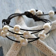 Pearls on Leather Bracelet Cosmos by nicholaslandon on Etsy, $128.00