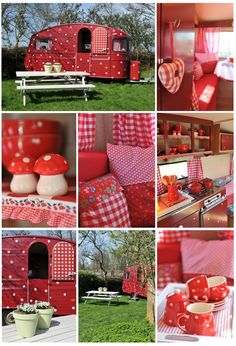 Polka dot camper want to do something like this for a playhouse for Grace