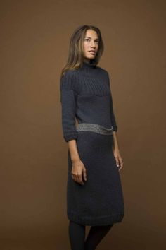 Knit Dress: free pattern. I'd make this as a sweater, lengthen the sleeves & add a turtleneck. Pretty pattern!