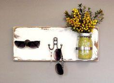 Wall Key Holder - Key Rack - Wall Organizer - Wooden Key Hook - Decorative Hanger - Mason Jar Decor - Distressed Wood - Rustic Charm