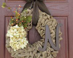 Fall Monogram Wreath--Autumn Burlap Wreath--Monogram Burlap Wreath--Burlap Wreath with Cream Hydrangea Flowers and Monogram Letter
