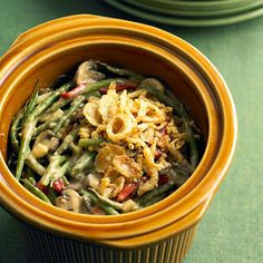 Make our Smoky Green Bean Casserole in your slow cooker! More slow cooker #recipes: http://www.bhg.com/thanksgiving/recipes/slow-cooker-thanksgiving-recipes/