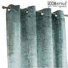 HOOMstyle kant & klaar gordijn semi-verduisterend velours stof ringen groen 140 x 270cm