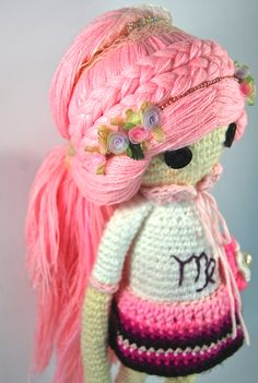 VIRGO ZODIAC Crochet Art Doll. Closeup of doll hairstyle. She is handmade in free form and originally designed by me. OOAK. She may now be viewed in my Etsy Shop - CreativeChaosMNL