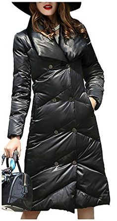 ad4f0973e3c Ilishop Womens Long Down Jacket Medium Style Thicken Vogue Slim Winter Coat  Black LBust 398