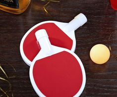 Serve up some fun drinks with the ping pong paddle flasks. These ingenuously low-key drink flasks can be used as actual ping pong or beer pong paddles while the hollowed out inside holds up to 5 oz. of your favorite alcoholic spirits.