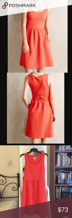 """Coral Maeve Scalloped Dress Flattering fit-and-flare """"Caye Scalloped Dress"""" from Anthropologie. Soft textured fabric, deep pockets, lace cutout on lower back. Pair with heels or boots and a belt- great for accessorizing! Length is 37 in. Never worn, perfect condition! Anthropologie Dresses"""