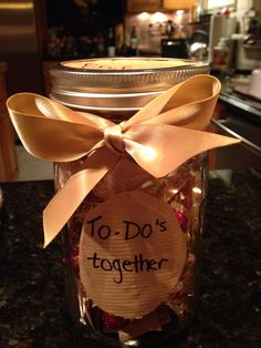 What I'm giving my husband for our first (paper) wedding anniversary. A note pad, a pen  a jar so together we can make our bucket list then gradually empty the jar as we complete each one.