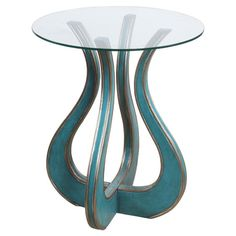 Display a decorative centerpiece and fresh florals on this lovely end table, showcasing an eye-catching base and turquoise finish with silver trim.