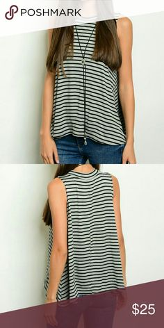"""SUPER SOFT Black & Gray Striped Mock Neck Top NWT Brand New with Tags Sleeveless Black & Gray Mock-Neck Top Super Soft, flowy fabric--very comfortable and versatile Wear to office with pencil skirt, heels & jacket OR with leather pants, leggings or jeans and boots for a night on the town 96% Rayon 4% Spandex XS - Measurements:  Front length 18 1/4"""", Back Length 20 1/4"""" Front chest 16"""" S - Measurements:  Front length 19 1/2"""", Back Length 21"""" Front chest 17"""" LOVE this top-- Kept one for me! 0…"""