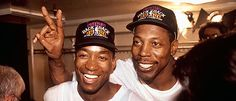 """Detroit Pistons - back-to-back champions, 1989 and 1990. Isiah Thomas and Vinnie """"Microwave"""" Johnson."""
