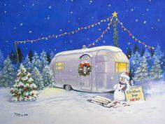 Vintage Airstream Trailer.... Vintage Rv, Vintage Trailers, Vintage Campers, Vintage Airstream, Vintage Caravans, Vintage Cards, Vintage Postcards, Christmas Tree Lots, Vintage Christmas Cards