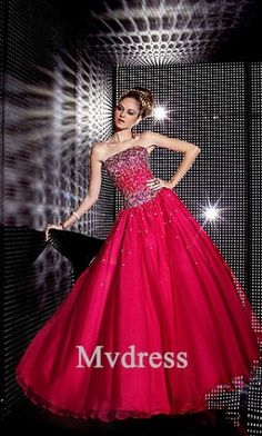 19c98bac1d7 Ball-Gown Strapless Floor-Length Organza Quinceanera Dress With Beading  Sequins - Vbridal