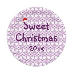 Snowflake heart pattern in purple-lavender color, Sweet Christmas 7 Inch Paper Plate - Custom date. Click on the item to purchase. You want it cheaper? Check out this link for free coupon offers! https://www.zazzle.com/coupons?rf=238298069376789985&tc=pin