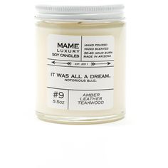 Mame & Co. Amber, Leather & Teakwood Soy Candle (135 SEK) ❤ liked on Polyvore featuring home, home decor, candles & candleholders, none, amber scented candles, inspirational home decor, soy candles, hand candle and soy wax candles