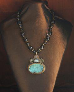 Smoky Quartz Nuggets & Labradorite Pendant Necklace