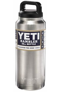 The new 36 oz YETI Rambler bottle provides double-wall vacuum insulation to keep your drink as cold as science allows.