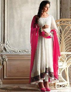 G3 Fashions Stunning white chiffon chudidar salwar suit.  Price:₹ 8,662.00 .  To view more details goo.gl/U24OZR