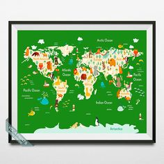 Animal World Map Poster World Map Print Animal World by VocaPrints