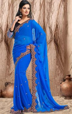Royal Blue color Indian Party Wear Saree INVIVBIG218 - www.indianwardrobe.com