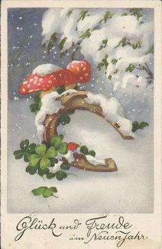 6658. Gelaufene Neujahrkarte mit Hufeisen, Pilzen und Klee. Q1/2! 0