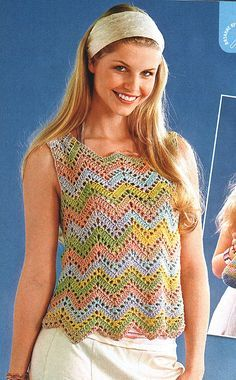 Crochet gold: The zigzag tunic! This diagrammed tunic would be pretty over a long-sleeved T Crochet gold: The zigzag tunic! This diagrammed tunic would be pretty over a long-sleeved T Débardeurs Au Crochet, Zig Zag Crochet, Pull Crochet, Crochet Woman, Love Crochet, Beautiful Crochet, Crochet Tank Tops, Crochet Shirt, Crochet Cardigan