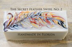 The Secret Feather Swirl, a Cold Process Soap by Handmade in Florida. Part 2, made with natural colorants only.