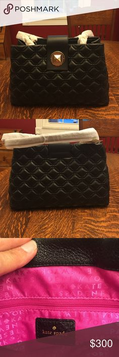 "Weekend  Sale!! Kate Spade Astor Court Elena Gorgeous Kate bag is a pebbles leather with a shimmer finish and matching trim. It features a gold over turn lock closure in 14karat gold plated.  It has capital Kate Spade New York jacquard lining in a beautiful contrasting pink. The handle drop is 9.8"". The measurements are 9.64h x 11.56""w x 13.6d. It is new with tags!  Retails for $458. Weekend Sale price is firm!! kate spade Bags Satchels"