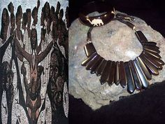 Tribal Ethnic Buffalo bone Necklace and earring set with resin bangle