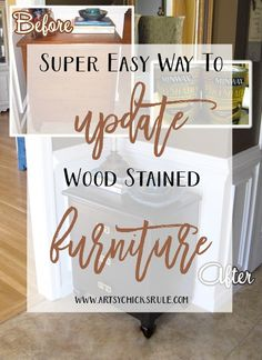 Easy way to update wood stained furniture without all the sanding, prep work & mess. Minwax Polyshades to the rescue. Furniture Projects, Furniture Makeover, Diy Furniture, Furniture Refinishing, Oh My Chalk, Do It Yourself Furniture, Diy Home Decor On A Budget, Minwax, Diy Craft Projects