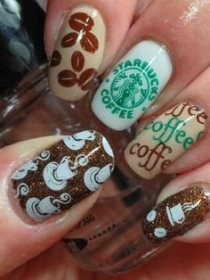 Starbucks nails! Like the white  Green one. ❤