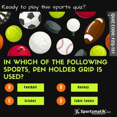 Time to raise your sports IQ. Participate in this sports quiz and comment your answers. A- Football B- Hockey C- Cricket D- Table Tennis #iqtest #quiztime #quizoftheday #sportsmedia #sportsmarketing Sports Quiz, Sports Marketing, Cricket, Hockey, Tennis, Football, Table, Soccer, Futbol