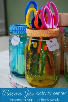 Mason Jar Activity Organizer #craftyjars #consumercrafts