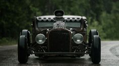 Chopped Chevy 5-window coupe rat rod high boy.