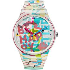 Swatch Unisex Swiss Go Happy Multicolor Silicone Strap Watch 41mm... ($70) ❤ liked on Polyvore featuring jewelry, watches, multi, swatch jewelry, swatch watches, unisex watches, swatch wrist watch and unisex jewelry