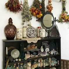 Witchy discovered by TroiAdellaRose on We Heart It Autel Wiccan, Wiccan Decor, Witchcraft, Magick Book, Spiritual Decor, Pagan Altar, Witch Cottage, Witch House, My New Room