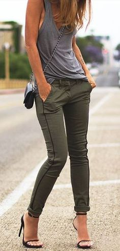 Army skinnies + grey tank. Great neutral colors with a fun feel.
